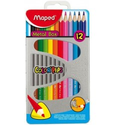 Карандаши цветные треугольные Maped COLOR PEPS, 12 цветов в металлической коробке