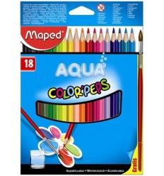 Карандаши цветные акварельные Maped COLOR PEPS AUQA, 18 цветов и кисть