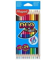Карандаши двухсторонние цветные MAPED COLOR'PEPS DUO, 12 карандашей 24 цвета