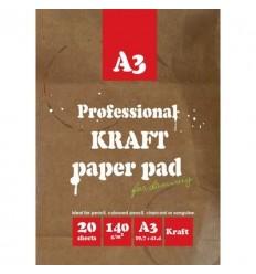 Папка для рисования и эскизов крафт А3, 20л., 140гр