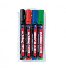 Набор перманентных маркеров EDDING E-330, скошенный наконечник, 1-5 мм, 4 цвета