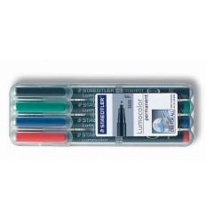 Набор перманентных маркеров STAEDTLER Lumocor S, 313WP, 4 цвета в пластиковом пенале