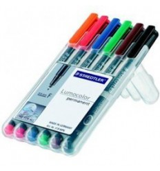 Набор перманентных маркеров STAEDTLER Lumocor S, 313WP, 6 цветов в пластиковом пенале, 0,6 мм