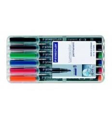 Набор перманентных маркеров STAEDTLER Lumocor S, 313WP, 8 цветов в пластиковом пенале, 0,6 мм