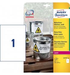 Этикетки погодоустойчивые L+C Avery-Zweckform 1 этикетка на листе 210х297мм, А4, 20 листов, белые L4775-20
