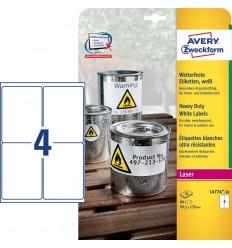 Этикетки погодоустойчивые Avery-Zweckform 99,1x139мм, А4, 20 листов, 80 этикеток, белые L4774-20