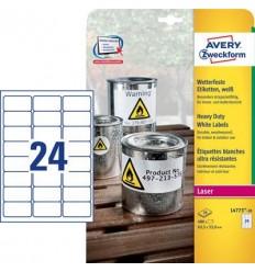 Этикетки погодоустойчивые Avery-Zweckform 63,5x33,9мм, А4, 20 листов, 20 этикеток, белые L4773-20