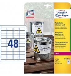 Этикетки погодоустойчивые Avery-Zweckform 45,7x21,2мм, А4, 20 листов, 960 этикеток, белые L4778-20