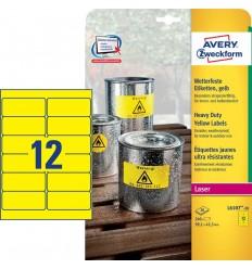 Этикетки погодоустойчивые Avery-Zweckform 99,1х42,3мм, А4, 20 листов, 240 этикеток, желтые L6107-20