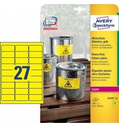Этикетки погодоустойчивые Avery-Zweckform 63,5х29,6мм, А4, 20 листов, 540 этикеток, желтые L6105-20