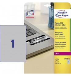 Этикетки металлизированные Avery-Zweckform 210х297мм, А4, 20 листов, 20 этикеток L6013-20