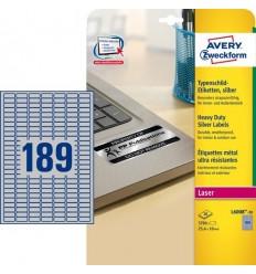 Этикетки металлизированные Avery-Zweckform 25,4x10мм, А4, 20 листов, 3780 этикеток L6008-20