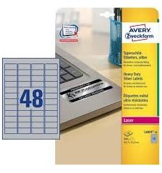 Этикетки металлизированные Avery-Zweckform 45,7x21,2мм, А4, 20 листов, 960 этикеток L6009-20