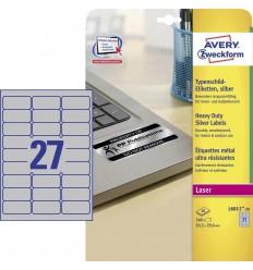 Этикетки металлизированные Avery-Zweckform 63,5x29,6мм, А4, 20 листов, 540 этикеток L6013-20