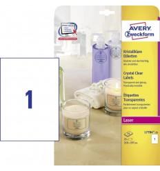 Этикетки прозрачные CRYSTAL CLEAR Avery-Zweckform  210х297мм, А4, 25 Листов, 25 Этикеток L7784-25