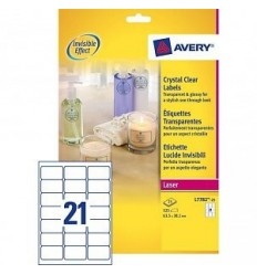 Этикетки прозрачные CRYSTAL CLEAR Avery-Zweckform  63,5х38,1мм, А4, 25 Листов, 525 Этикеток L7782-25