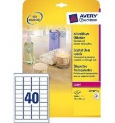 Этикетки прозрачные CRYSTAL CLEAR Avery-Zweckform  45,7x25,4мм, А4, 25 Листов, 1000 Этикеток L7781-25