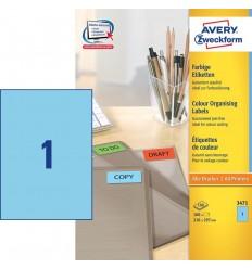 Этикетки универсальные Avery Zweckform 210x297мм, синие, А4, 100листов, 100 этикеток