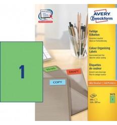 Этикетки универсальные Avery Zweckform 210x297мм, желтые, А4, 100листов, 100 этикеток