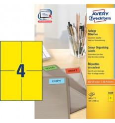 Этикетки универсальные Avery Zweckform 105x148мм, желтые, А4, 100листов, 400 этикеток