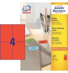 Этикетки универсальные Avery Zweckform 105x148мм, красные, А4, 100листов, 400 этикеток