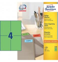 Этикетки универсальные Avery Zweckform 105x148мм, зеленые, А4, 100листов, 400 этикеток