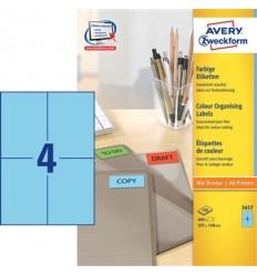 Этикетки универсальные Avery Zweckform 105x148мм, синие, А4, 100листов, 400 этикеток