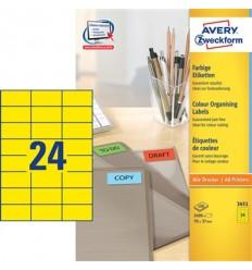 Этикетки универсальные Avery Zweckform 70x37мм, желтые, А4, 100листов, 2400 этикеток