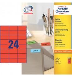 Этикетки универсальные Avery Zweckform 70x37мм, красные, А4, 100листов, 2400 этикеток