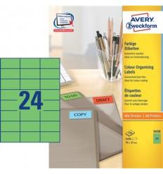 Этикетки универсальные Avery Zweckform 70x37мм, зеленые, А4, 100листов, 2400 этикеток