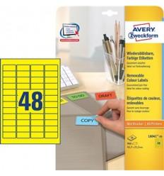 Этикетки матовые Avery Zweckform 45,7x21,2мм, желтые, А4, 20листов, 960 этикеток, L6041-20