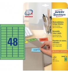 Этикетки матовые Avery Zweckform 45,7x21,2мм, зеленые, А4, 20листов, 960 этикеток, L6040-20