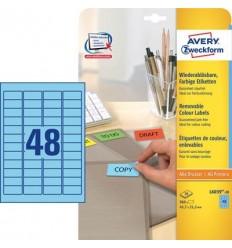 Этикетки матовые Avery Zweckform 45,7x21,2мм, синие, А4, 20листов, 960 этикеток, L6039-20