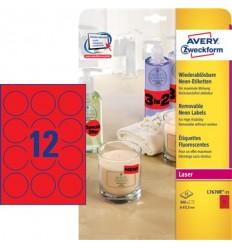 Этикетки неоновые круглые d63,5мм, Avery Zweckform, А4, красные, 25 листов, 25 этикеток, L6005-25