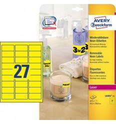 Этикетки неоновые 63,5x29,6мм, Avery Zweckform, А4, желтые, 25 листов, 675 этикеток, L6004-25