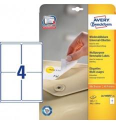 Этикетки удаляемые 99,1x139мм Stick&Lift Avery Zweckform, белые, 25 листов, 100 этикеток L4733REV-25
