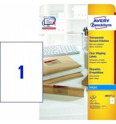 Прозрачные адресные этикетки Avery Zweckform,210x297мм, полиэстер, 25 листов, 25 этикеток, J8567-25