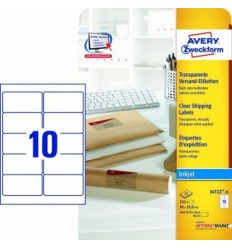 Прозрачные адресные этикетки Avery Zweckform,96x50,5мм, полиэстер, 25 листов, 250 этикеток, J4722-25