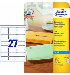Прозрачные адресные этикетки Avery Zweckform,63,5x29,6мм, полиэстер, 25 листов, 675 этикеток, J4721-25