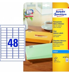 Прозрачные адресные этикетки Avery Zweckform, 45,7x21,2мм, полиэстер, 25 листов, 1200 этикеток, J4720-25