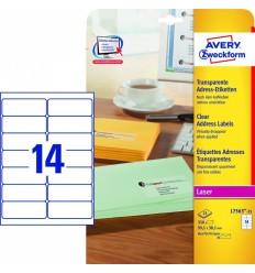 Прозрачные адресные этикетки Avery Zweckform,99,1x38,1мм, полиэстер, 25 листов, 350 этикеток, L7563-25
