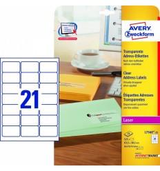 Прозрачные адресные этикетки Avery Zweckform,63,5x38,1мм, полиэстер, 25 листов, 525 этикеток, L7560-25