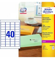 Прозрачные адресные этикетки Avery Zweckform,45,7x25,4мм, полиэстер, 25 листов, 1000 этикеток, L4770-25