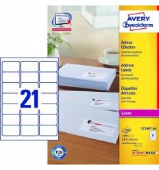 Этикетки адресные белые, 63,5x38,1мм, Avery Zweckform, 100 листов, 2100 этикеток, L7160-100