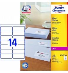 Этикетки адресные белые, 99,1x38,1мм, Avery Zweckform, 100 листов, 1400 этикеток, L7163-100