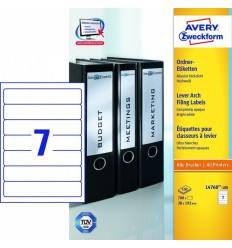 Этикетки для папок-регистраторов белые Avery Zweckform A4, 192×38мм, 100 листов, 700 этикеток, L4760-100