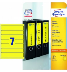 Этикетки для папок-регистраторов желтые Avery Zweckform A4, 192×38мм, 20 листов, 140 этикеток, L4765-20