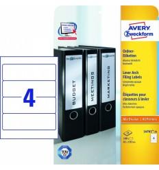 Этикетки для папок-регистраторов белые Avery Zweckform A4, 192×61мм, 25 листов, 100 этикеток, L4761-25