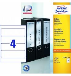 Этикетки для папок-регистраторов белые Avery Zweckform A4, 192×61мм, 100 листов, 400 этикеток, L4761-100