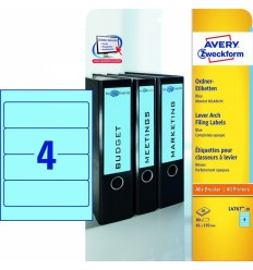 Этикетки для папок-регистраторов синие Avery Zweckform A4, 192×61мм, 20 листов, 80 этикеток, L4767-20